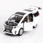 1:24 Alloy Car Model Simulation Metal Vehicle with Light Sound Doors Trunk  Engine Hook Open Classic SUV for Collection Decoration white