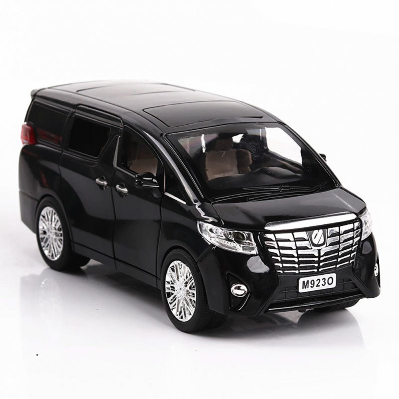 1:24 Alloy Car Model Simulation Metal Vehicle with Light Sound Doors Trunk  Engine Hook Open Classic SUV for Collection Decoration black
