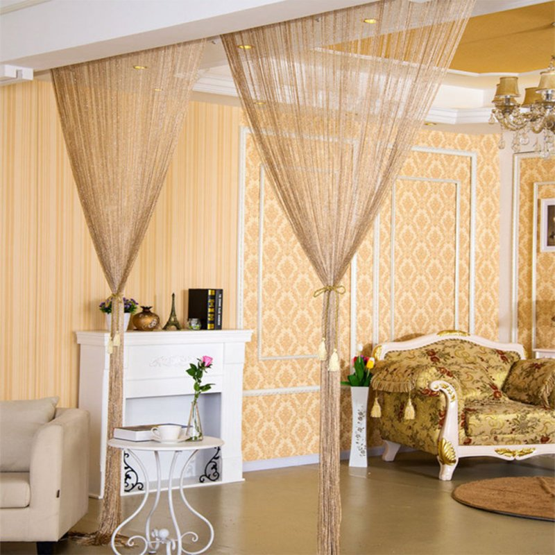 1 * 2M Shiny Tassel Flash Line String Curtain Window Door Divider Sheer Curtain Valance Home Wedding Decoration (Rod Pocket Version) Champagne