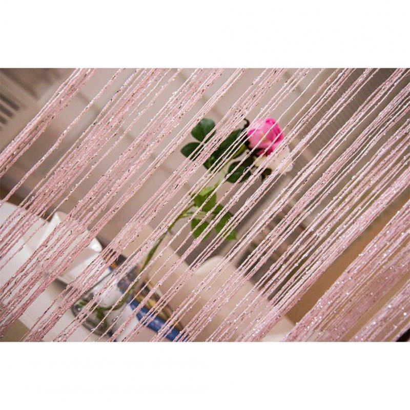 1 * 2M Shiny Tassel Flash Line String Curtain Window Door Divider Sheer Curtain Valance Home Wedding Decoration (Rod Pocket Version) Pink