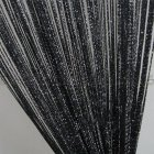 1 * 2M Shiny Tassel Flash Line String Curtain Window Door Divider Sheer Curtain Valance Home Wedding Decoration (Rod Pocket Version) black