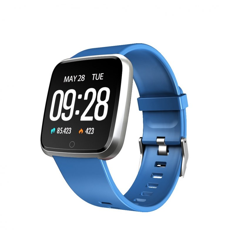 1.3 Inch Color Screen Exercise Heart Rate Blood Pressure Sleep Detection Call Alert Smart Bracelet Blue silicone strap