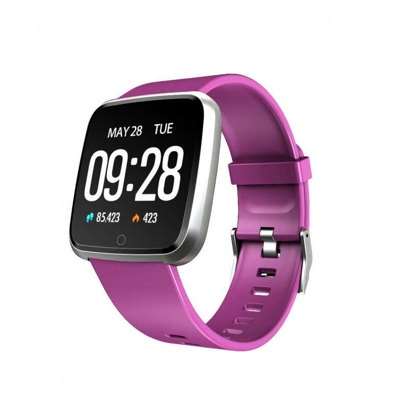 1.3 Inch Color Screen Exercise Heart Rate Blood Pressure Sleep Detection Call Alert Smart Bracelet Purple silicone strap