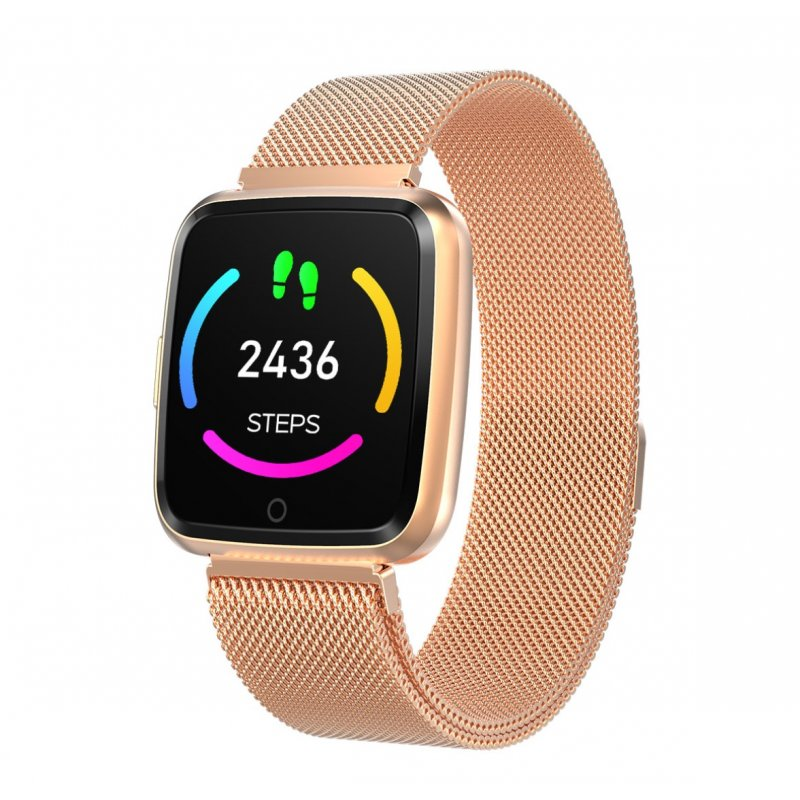 1.3 Inch Color Screen Exercise Heart Rate Blood Pressure Sleep Detection Call Alert Smart Bracelet Golden steel belt