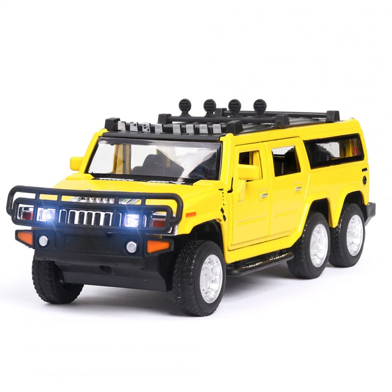 1:32 Car Model for Hummer H2 Off-road High Simulation Alloy Car Model Sound And Light Pull Back Door Boy Car Toy For Children Gifts yellow