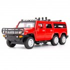 1 32 Car Model for Hummer H2 Off road High Simulation Alloy Car Model Sound And Light Pull Back Door Boy Car Toy For Children Gifts red