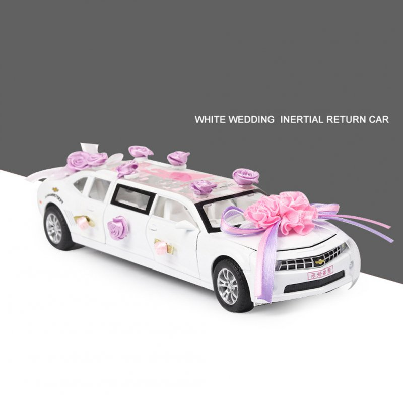 1:32 Lengthen Wedding Greet Guests Car Model with Light Sound Pull Back Toy white