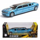 1/32 Lengthened with Sound and Light Alloy Pull Back Simulation Car for Ornaments Souvenir blue