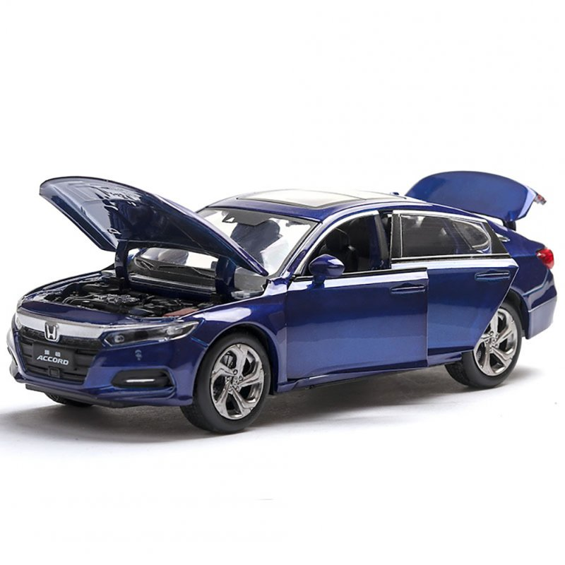 1:32 Light Sound Simulation Car Model 6 Doors Open Alloy Pull Back Auto Toy Collection blue