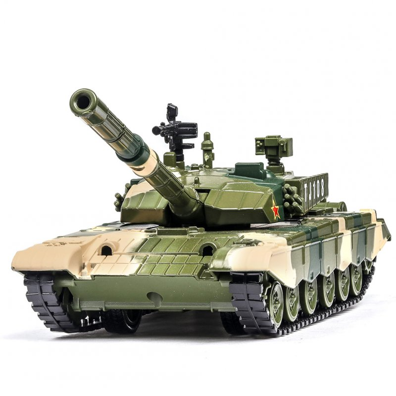 1:32 Simulation Camouflage Tank Model Light Effect Alloy Pull Back Toy Car Collection Camouflage green