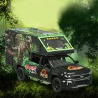 1:32 Simulation Car Model Dinosaur Transport Vehicle Light Sound Doors Open Alloy Pull Back Toy Gift Collection black