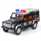 1 32 Simulation Defener Police Car Model Light Sound Effect Doors Open Alloy Pull Back Auto Toy Gift Collection black