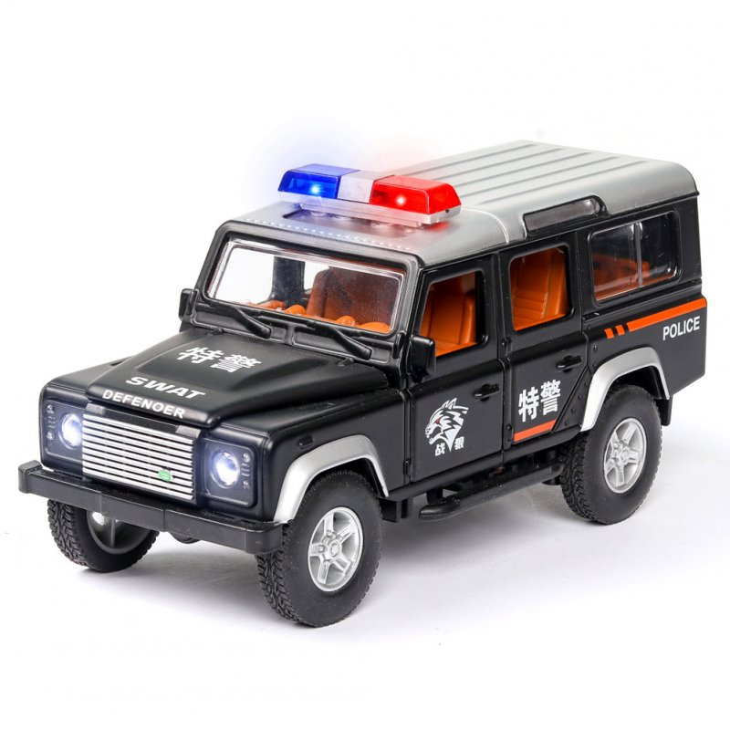 1:32 Simulation Defener Police Car Model Light Sound Effect Doors Open Alloy Pull Back Auto Toy Gift Collection black