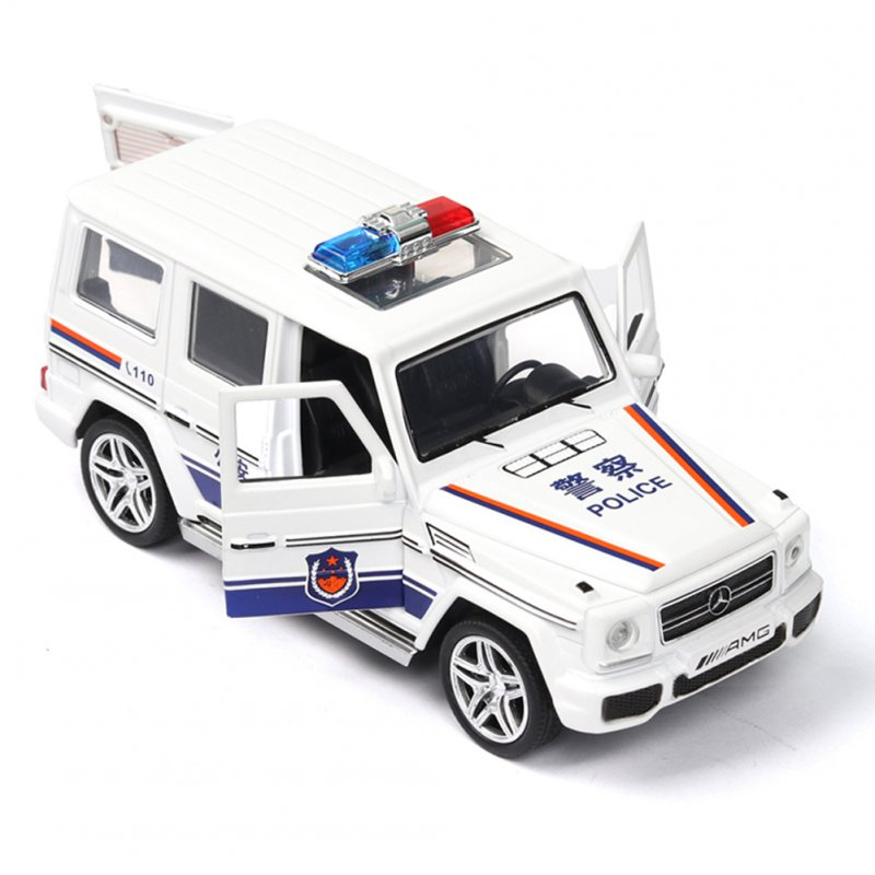 1:32 Simulation Police Car Children's Vehicle Toy with Sound Light Effect Home/Car/Bookshelf Decoration white