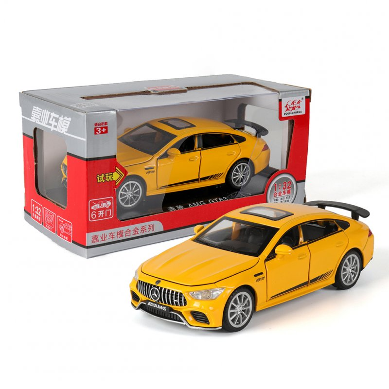 1:32 Simulation Racing Car Model Light Sound Effect Doors Open Alloy Pull Back Auto Toy Gift Collection yellow
