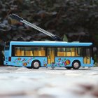 1 36 Scale Car Modeling Metal Alloy Trolleybus Voice Announcement Light Sound Toy for Kids Collect Box Packing  blue