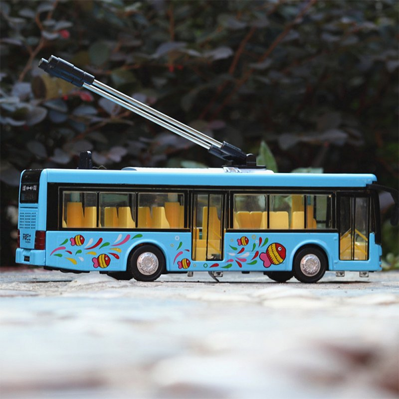 1:36 Scale Car Modeling Metal Alloy Trolleybus Voice Announcement Light Sound Toy for Kids Collect(Box Packing) blue