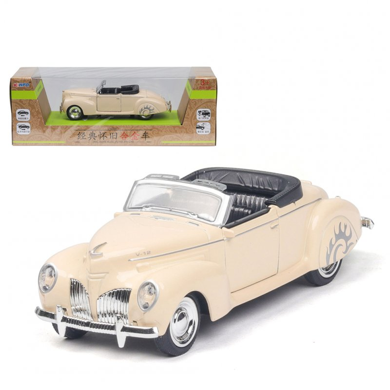 1/38 Simulation Alloy Convertible Classic Car with Sound and Light Children Toy Car  Beige
