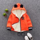 1-4 Years Old Baby Infant Winter Cartoon Zipper Quilted Jacket Coat Cardigan Hooded Sweater YT-single bear orange_120
