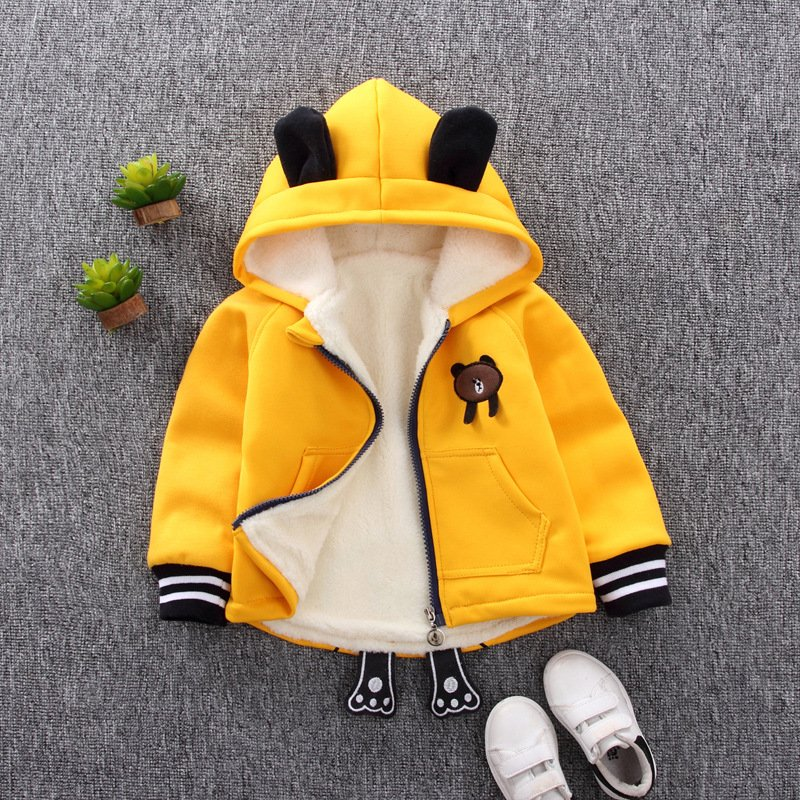 1-4 Years Old Baby Infant Winter Cartoon Zipper Quilted Jacket Coat Cardigan Hooded Sweater YT-single bear yellow_90