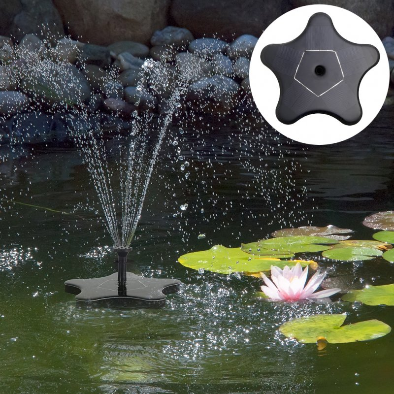 1.4W 7V Star Model Solar Outdoor Garden Portable Water Pump Fountain Kit black