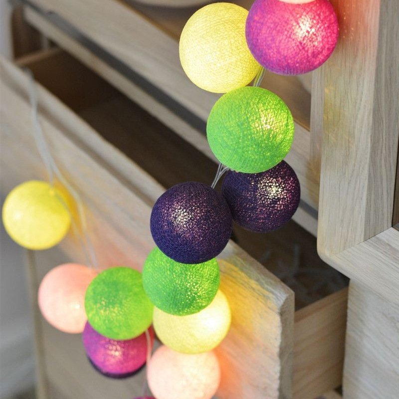 1.5M/3M/6M 10LEDs/ 20LEDs/ 40LEDs Fairy Cotton Balls String Lights Christmas Girl Bedroom Decoration Battery Powered 3 meters 20 lights