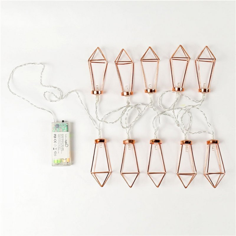1.5M/3M LED Rose Gold Diamond Fairy Lights Metal String Light Battery Operated Christmas Lights for Festival Halloween Party Wedding Decoration 1.5 meters 10 lamp battery models