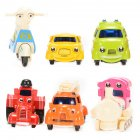 1 64 Scale Mini Cartoon Diecast Metal Sliding Cars Vehicle Playset  6 Pieces