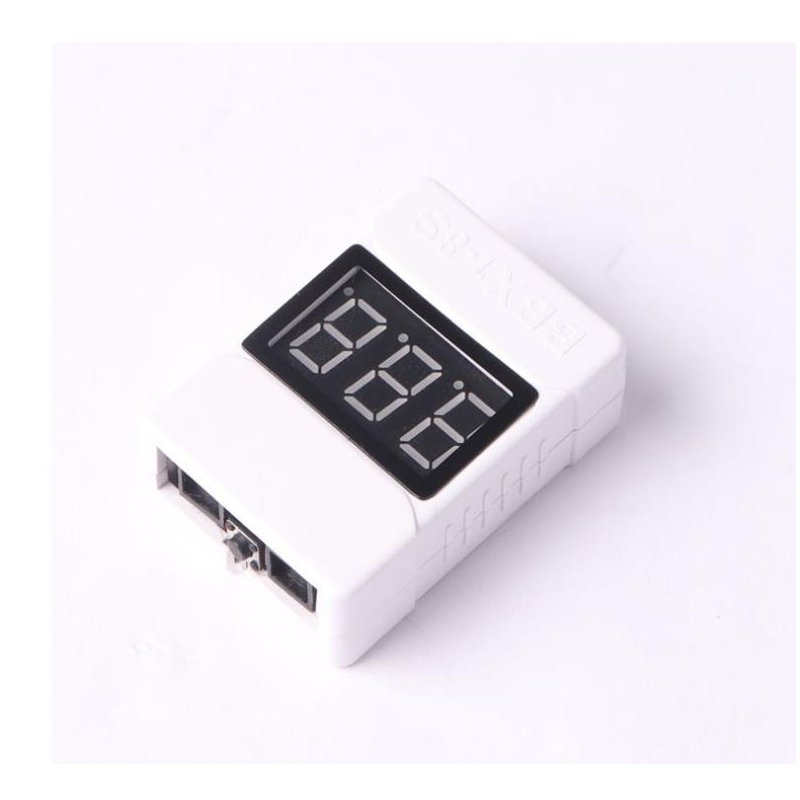 1-8S Low Voltage Battery Tester Buzzer Alarm 3.6-32V LED Volt Meter Lipo Voltage Indicator Checker Prevent Reverse Connection white