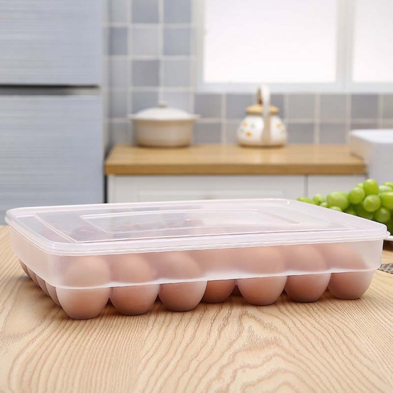 1 Layer 34 Grids Egg Tray Dumplings Box for Kitchen Refrigerator Storage Transparent