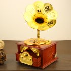 1 PC Retro Style Gramophone Shape Music Box for Horn Crafts Decoration Retro Brown_12.5*10.5*21.5 cm