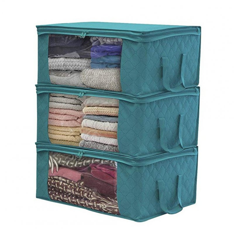 1 PCS Non-woven Foldable Storage Bag Organizers Dust-proof for Clothes, Quilts,Closets blue_49*36*21cm