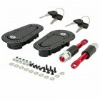 1 Pair Car Engine Hood Lock Carbon Fiber Universal Modified Flush Mount Latch Kit With lock