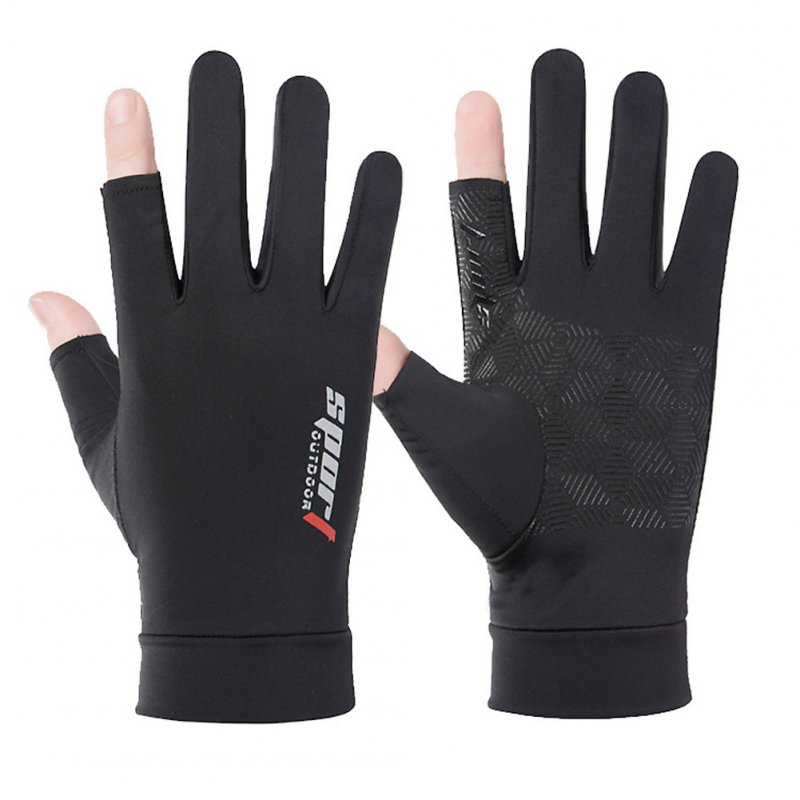 1 Pair Fishing Gloves Outdoor Fishing Protection Anti-slip Half Finger Sports Fish Equipment Three fingers black_One size