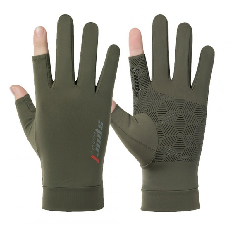 1 Pair Fishing Gloves Outdoor Fishing Protection Anti-slip Half Finger Sports Fish Equipment Three fingers green_One size