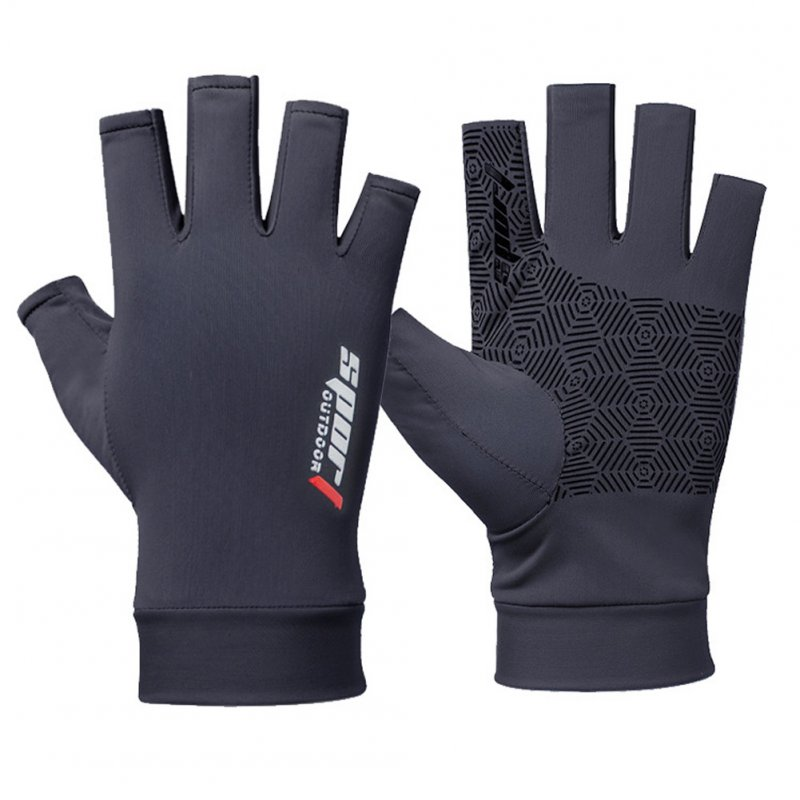 1 Pair Fishing Gloves Outdoor Fishing Protection Anti-slip Half Finger Sports Fish Equipment Half finger navy_One size