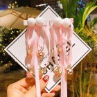 1 Pair Kid Hair Clips Chinese Style Tassel Ribbon Bead Hairpin Headdress New Year Gift 13 #