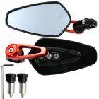 1 Pair Motorcycle Handle Bar End Side Mirror Rearview Rear View for MSX125 red