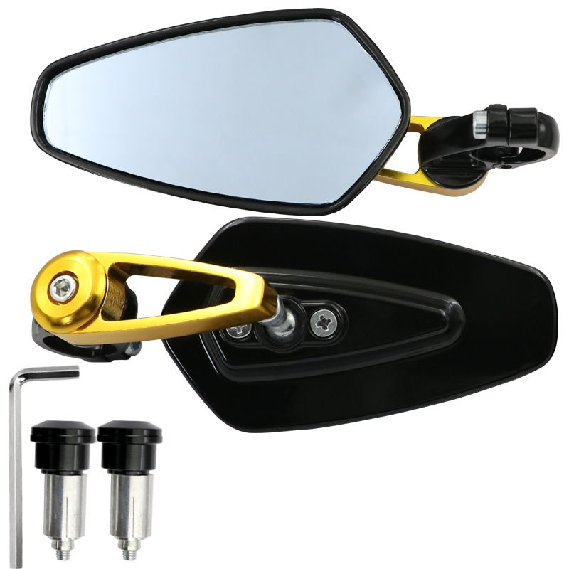 1 Pair Motorcycle Handle Bar End Side Mirror Rearview Rear View for MSX125 Gold