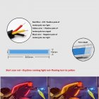 1 Pair Motorcycle Strip Light LED Daytime Running Light Sequential Flow Duotone Red light + streamer yellow_30cm