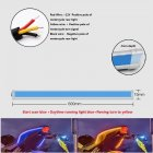 1 Pair Motorcycle Strip Light LED Daytime Running Light Sequential Flow Duotone Blue + Streamer Yellow_60cm