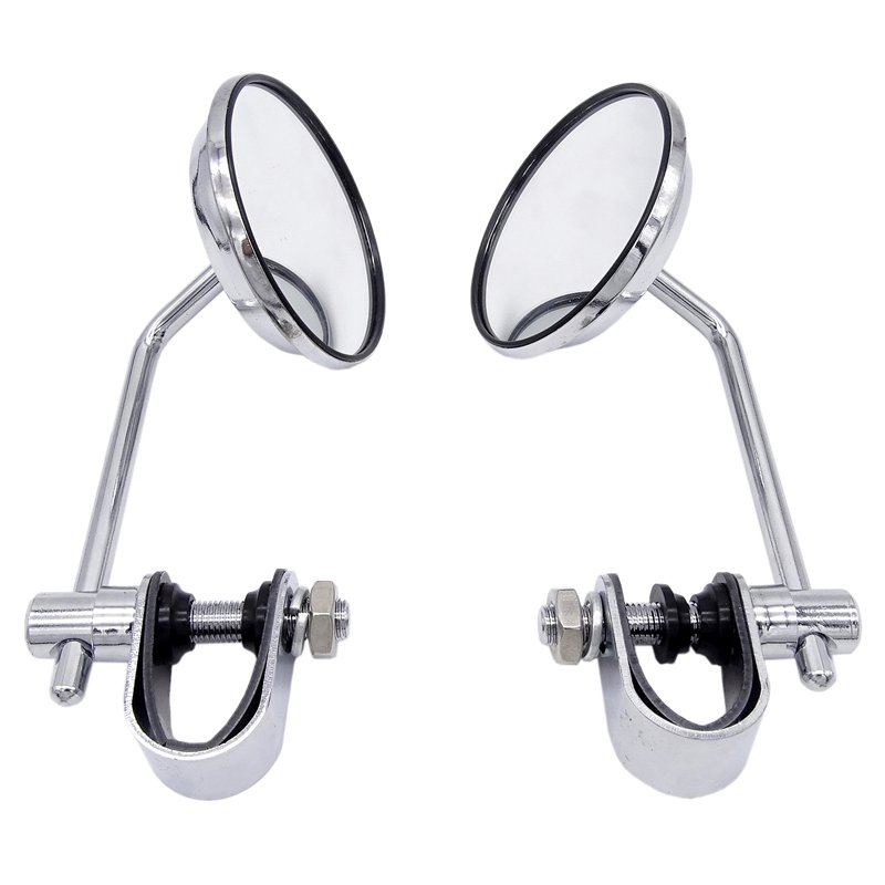 1 Pair Universal 8mm Stainless Steel Motorcycle Back View Mirror Classic Retro Vintage Round Rearview Mirror silver