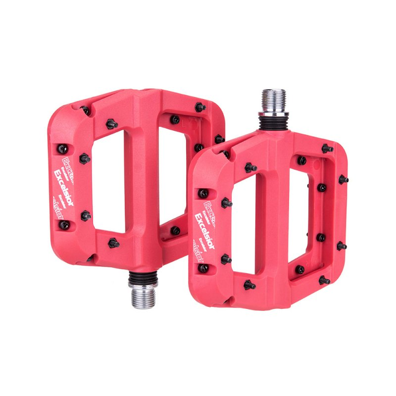 1 Pair of Nylon Pedals Bearing Pedal Non-slip Pedal for Mountain Bike red