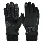 1 Pair of Warm Gloves Autumn and Winter Skiing Outdoor Cycling Non-slip Waterproof and Rainproof Fleece Gloves black_Male models (suitable for palm size 21-23cm)