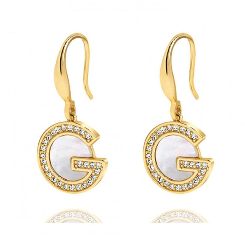 1 Pair of Women's Earrings S925 Silver Needle Earrings Letter-shape Ear Hook Golden