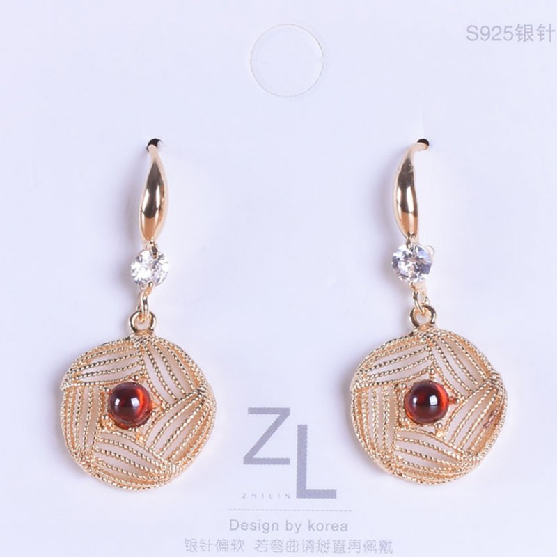 1 Pair of Women's Earrings Ins Simple Style Diamond-mounted Pearl Hollow Geometric Earrings red