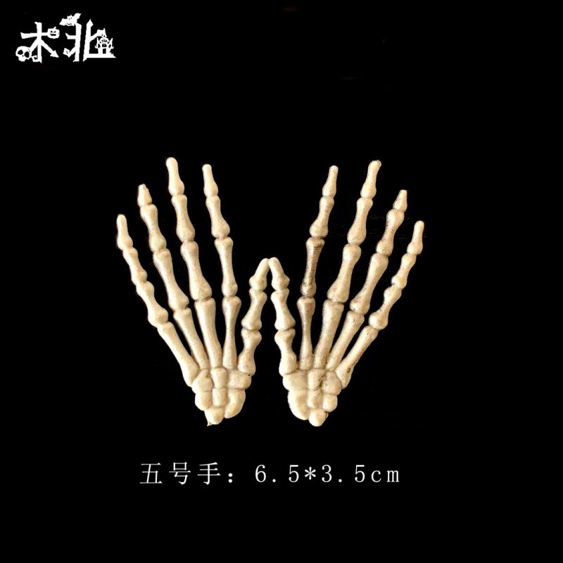 1 Pairs Halloween Skeleton Hands Model for Halloween Decoration Terror Scary Props  6.5*3.5cm