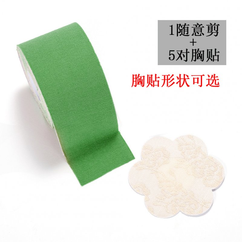1 Roll of Lifting Nipple Stickers  + 5 Pairs of Lace Disposable Breast Stickers 7 green_free size