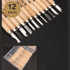 1 Set Wood Carving Chisels Knife Basic Cut Detailed Woodworking Gouges DIY Hand Tools 12 Pcs/box