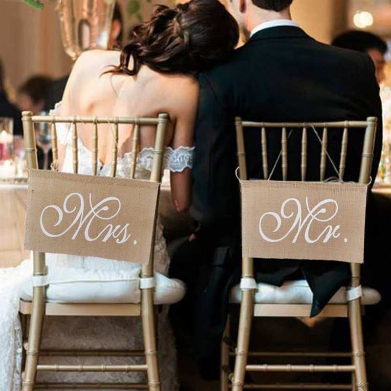 1 Set of 2 Burlap Bows Mr. & Mrs Burlap Chair Banner Set Chair Sign Garland Rustic Wedding Party Decoration